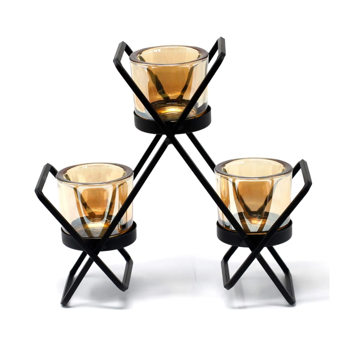 Ancient Wisdom Centerpiece Iron Candle Holder - 3 Cup Triangle