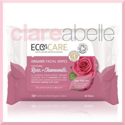 ECOCARE Organic Facial Wipes, Rose & Chamomile