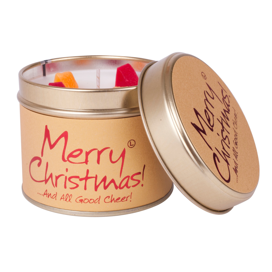 Lily Flame Merry Christmas Tin Candle