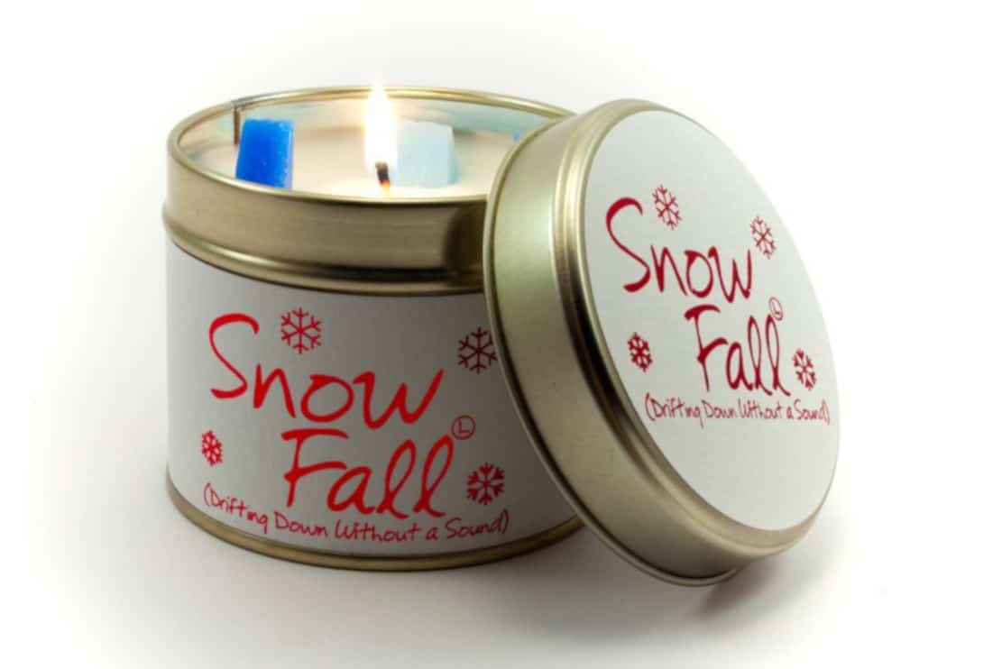 Lily Flame Snow Fall Tin Candle