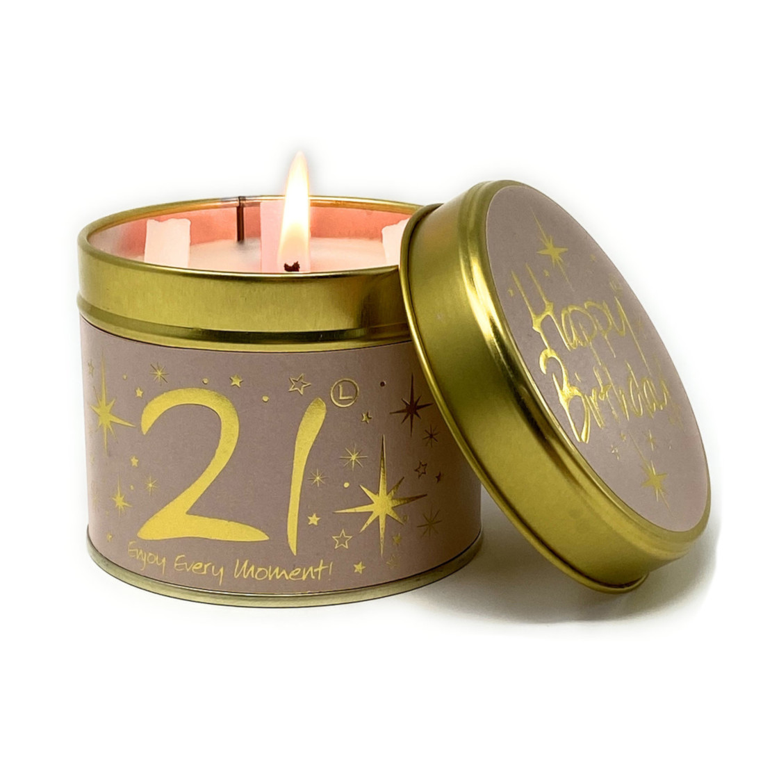 Lily Flame Happy Birthday 21 Tin Candle