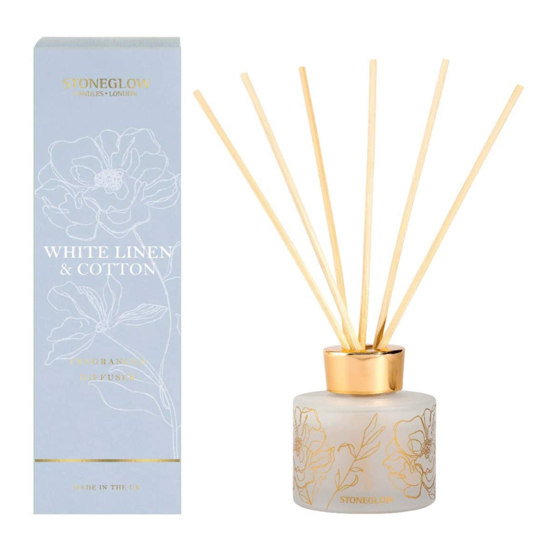 Stoneglow Day Flower White Linen & Cotton Reed Diffuser