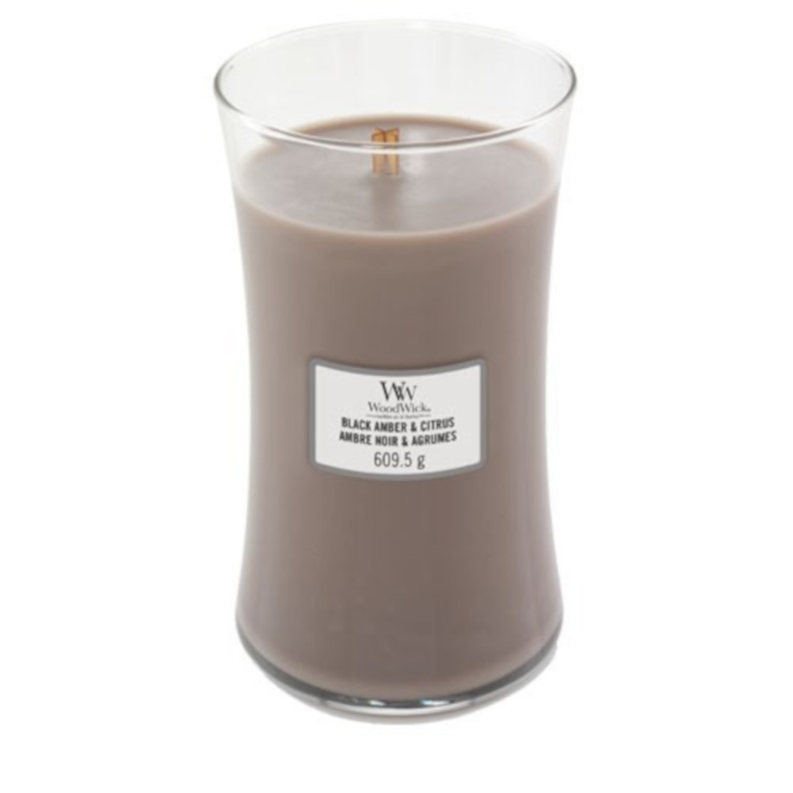 Woodwick Black Amber and Citrus Large Jar Candle